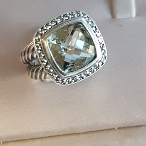 David Yurman Albion 11mm Prasiolite Diamond Ring
